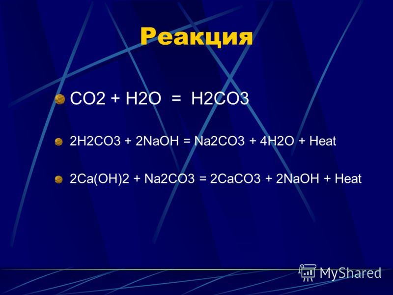 Реакция CO2 + H2O = H2CO3 2H2CO3 + 2NaOH = Na2CO3 + 4H2O + Heat 2Ca(OH)2 + Na2CO3 = 2CaCO3 + 2NaOH + Heat