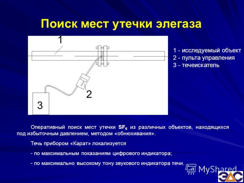 7 Оперативный поиск мест утечки SF 6 из различных объектов, находящихся под избыточным давлением, методом «обнюхивания». Течь прибором «Карат» локализуется -- по максимальным показаниям цифрового индикатора; -- по максимально высокому тону звукового