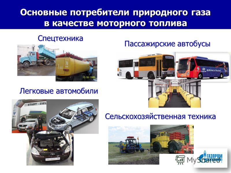 Основные потребители природного газа в качестве моторного топлива Пассажирские автобусы Пассажирские автобусы Сельскохозяйственная техника Легковые автомобили Спецтехника