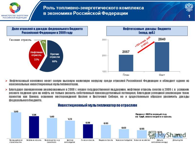 Инвестиционный мультипликатор по отраслям Доля отраслей в доходах федерального бюджета Российской Федерации в 2009 году Прочие отрасли 60% 7% Нефтяная отрасль 33% Газовая отрасль +783 млрд. руб. (+38%) Нефтегазовые доходы бюджета (млрд. руб.) Нефтега