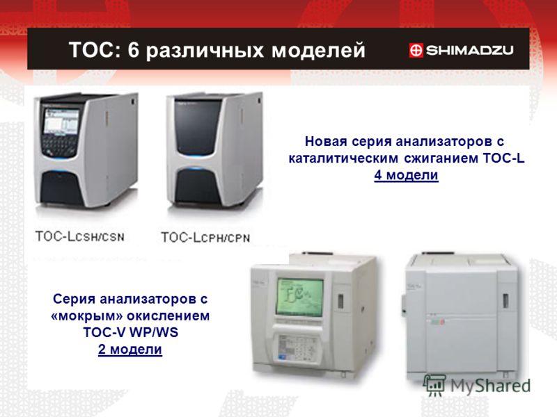 TOC: 6 различных моделей Новая серия анализаторов c каталитическим сжиганием TOC-L 4 модели Серия анализаторов c «мокрым» окислением TOC-V WP/WS 2 модели