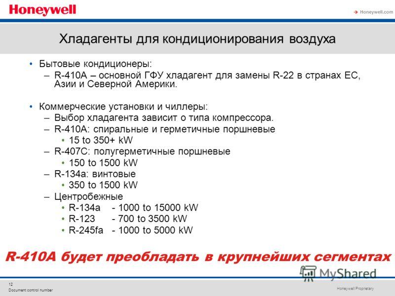 Honeywell Proprietary Honeywell.com 12 Document control number Хладагенты для кондиционирования воздуха Бытовые кондиционеры: –R-410A – основной ГФУ хладагент для замены R-22 в странах ЕС, Азии и Северной Америки. Коммерческие установки и чиллеры: –В