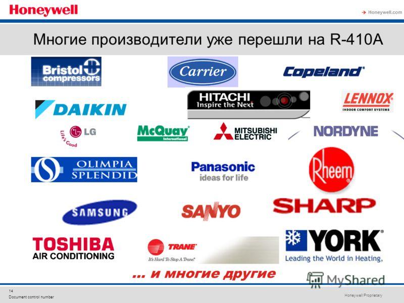 Honeywell Proprietary Honeywell.com 14 Document control number Многие производители уже перешли на R-410A … и многие другие