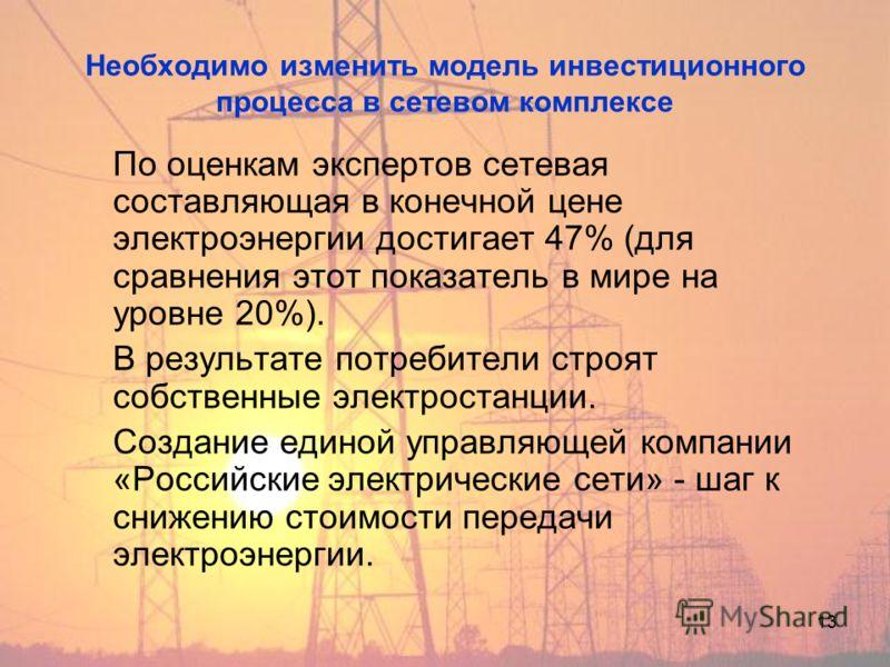 13 Необходимо изменить модель инвестиционного процесса в сетевом комплексе По оценкам экспертов сетевая составляющая в конечной цене электроэнергии достигает 47% (для сравнения этот показатель в мире на уровне 20%). В результате потребители строят со