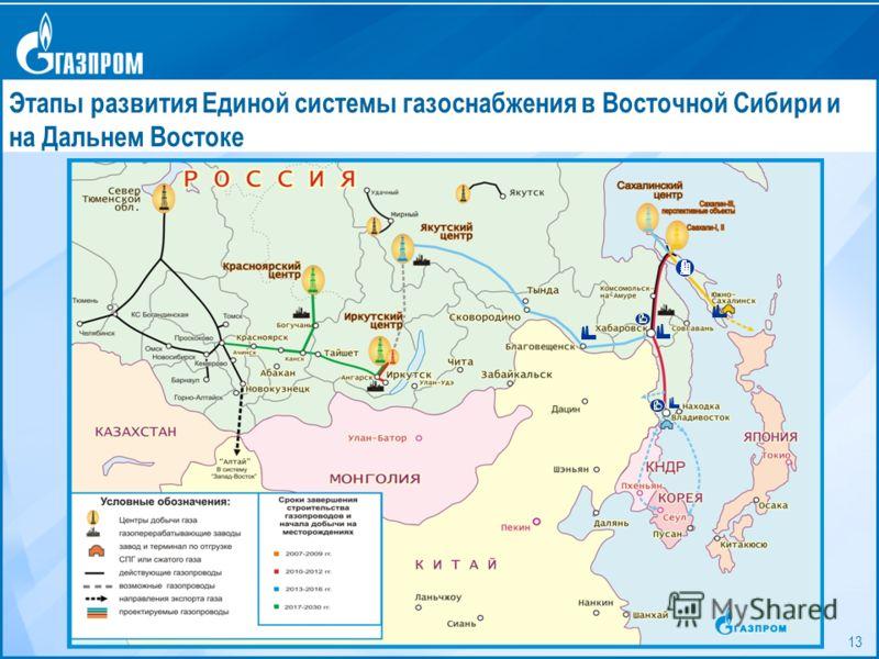 13 Этапы формирования Единой системы газоснабжения на Востоке страны Этапы развития Единой системы газоснабжения в Восточной Сибири и на Дальнем Востоке
