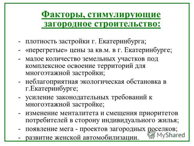 Факторы, стимулирующие загородное строительство: -плотность застройки г. Екатеринбурга; -«перегретые» цены за кв.м. в г. Екатеринбурге; -малое количество земельных участков под комплексное освоение территорий для многоэтажной застройки; -неблагоприят