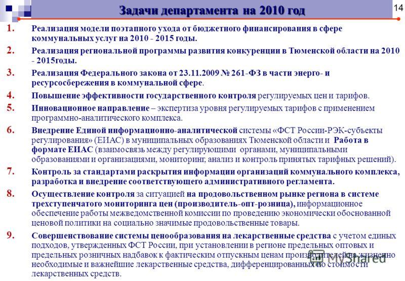 Задачи департамента на 2010 год 1. Реализация модели поэтапного ухода от бюджетного финансирования в сфере коммунальных услуг на 2010 - 2015 годы. 2. Реализация региональной программы развития конкуренции в Тюменской области на 2010 - 2015годы. 3. Ре