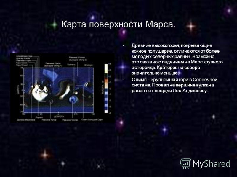Карта поверхности Марса. -Древние высокогорья, покрывающие южное полушарие, отличаются от более молодых северных равнин. Возможно, это связано с падением на Марс крупного астероида. Кратеров на севере значительно меньше. -Олимп – крупнейшая гора в Со