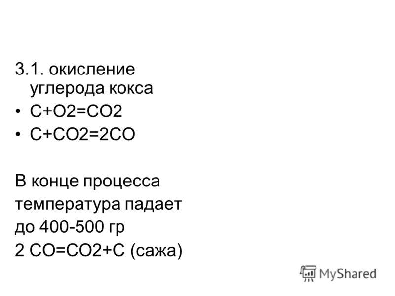 3.1. окисление углерода кокса С+O2=CO2 С+СO2=2CO В конце процесса температура падает до 400-500 гр 2 СО=СО2+С (сажа)