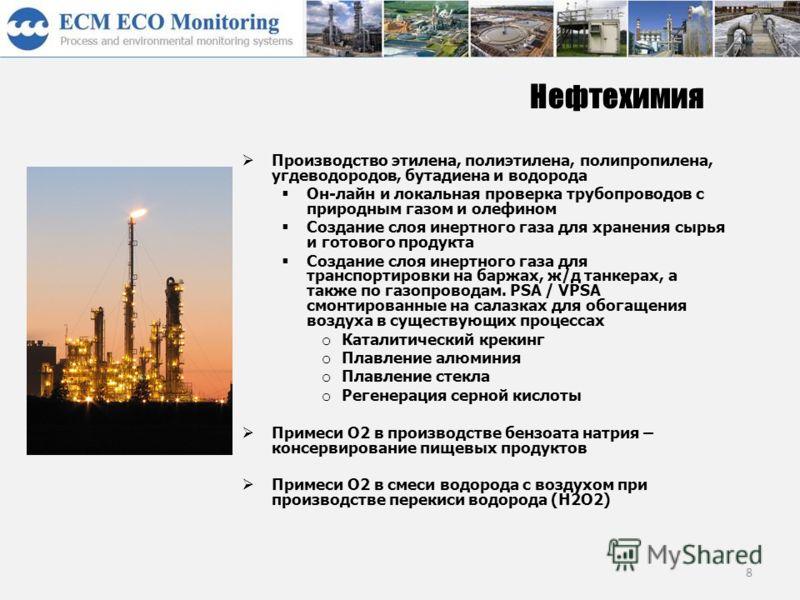 8 Нефтехимия Производство этилена, полиэтилена, полипропилена, угдеводородов, бутадиена и водорода Он-лайн и локальная проверка трубопроводов с природным газом и олефином Создание слоя инертного газа для хранения сырья и готового продукта Создание сл
