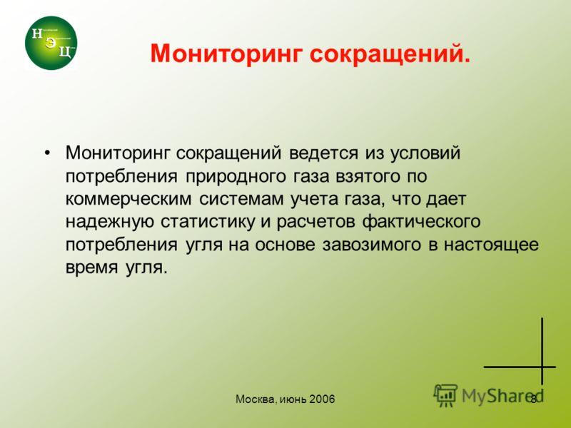 Москва, июнь 20068 Мониторинг сокращений. Мониторинг сокращений ведется из условий потребления природного газа взятого по коммерческим системам учета газа, что дает надежную статистику и расчетов фактического потребления угля на основе завозимого в н