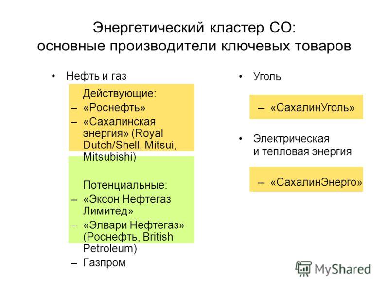 Нефть и газ Действующие: –«Роснефть» –«Сахалинская энергия» (Royal Dutch/Shell, Mitsui, Mitsubishi) Потенциальные: –«Эксон Нефтегаз Лимитед» –«Элвари Нефтегаз» (Роснефть, British Petroleum) –Газпром Энергетический кластер СО: основные производители к