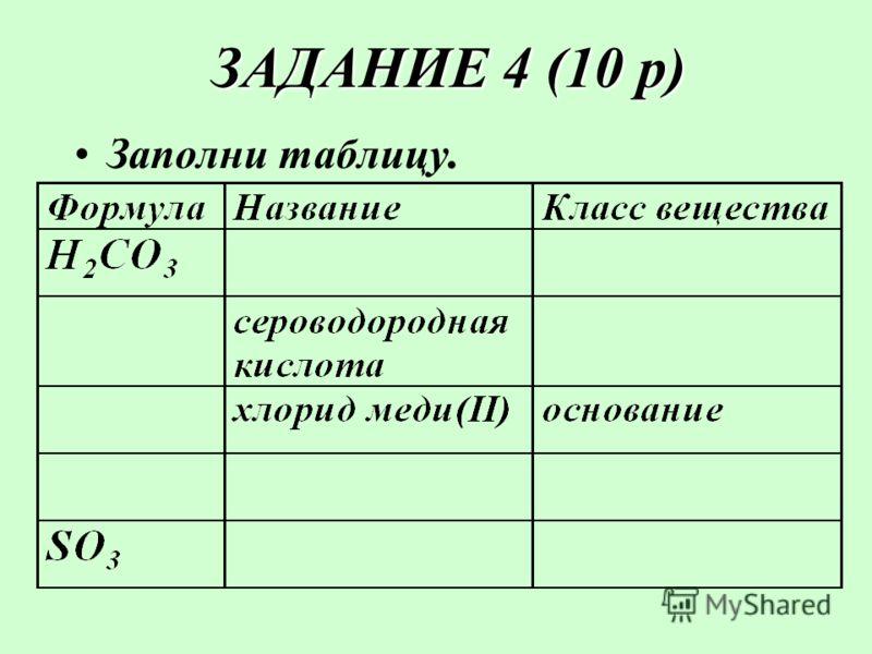 ЗАДАНИЕ 4 (10 р) ЗАДАНИЕ 4 (10 р) Заполни таблицу.