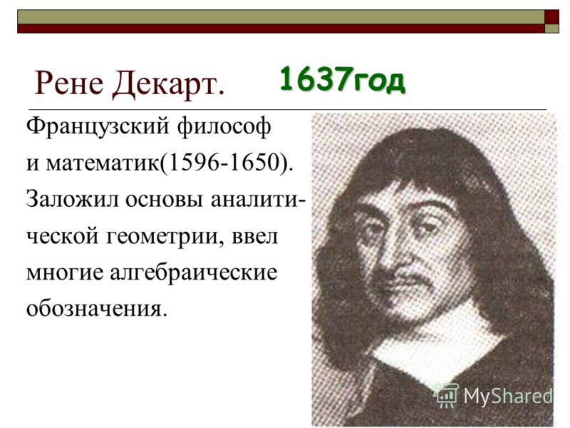 Рене Декарт. Французский философ и математик(1596-1650). Заложил основы аналити- ческой геометрии, ввел многие алгебраические обозначения. 1637год
