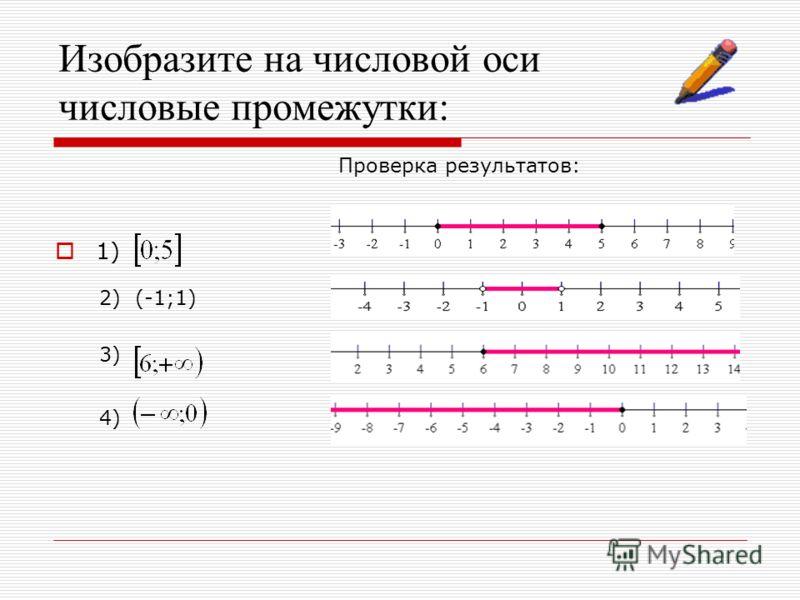 Изобразите на числовой оси числовые промежутки: 1) 2) (-1;1) 3) 4) Проверка результатов: