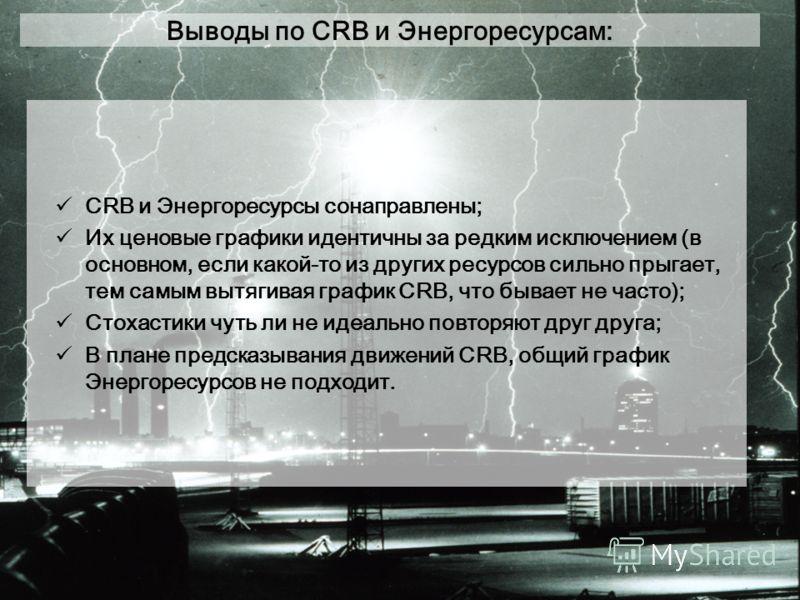 Выводы по CRB и Энергоресурсам: CRB и Энергоресурсы сонаправлены; Их ценовые графики идентичны за редким исключением (в основном, если какой-то из других ресурсов сильно прыгает, тем самым вытягивая график CRB, что бывает не часто); Стохастики чуть л