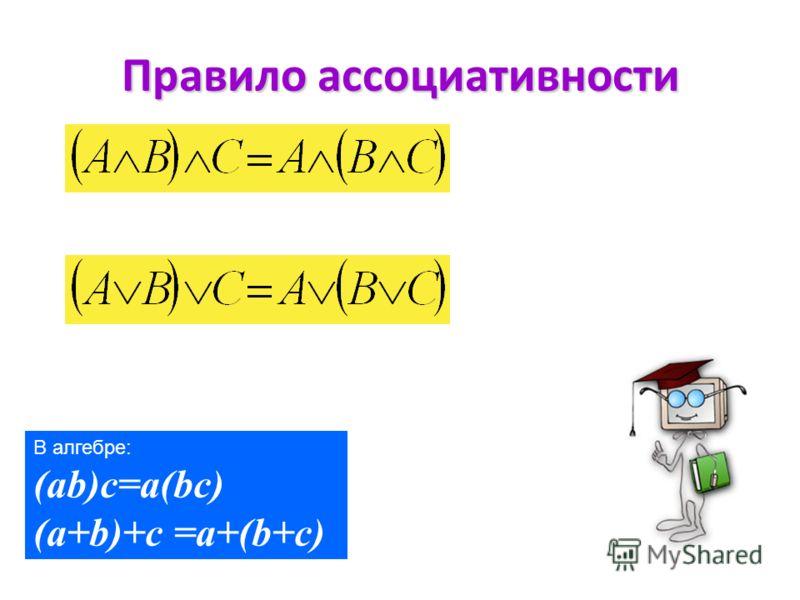 Правило коммутативности. В алгебре: ab=ba a+b = b+a