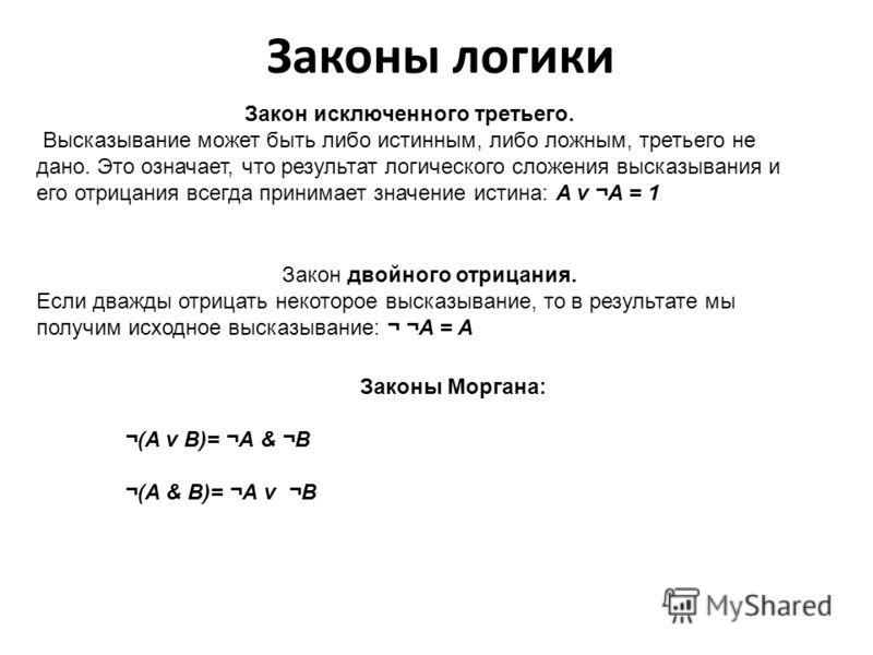 Законы логики Законы логики отражают наиболее важные закономерности логического мышления, В алгебре высказываний законы логики записываются в виде формул, которые позволяют проводить эквивалентные преобразования логических выражений в соответствие с