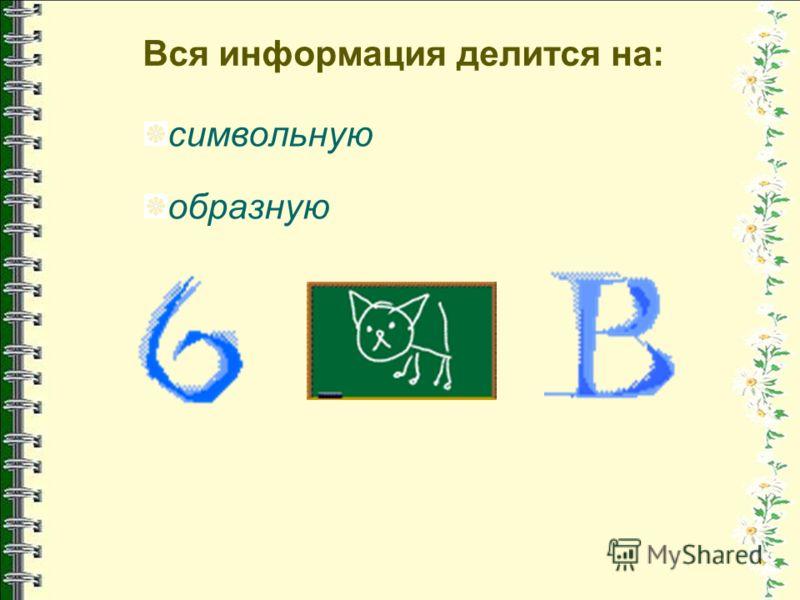 Вся информация делится на: символьную образную