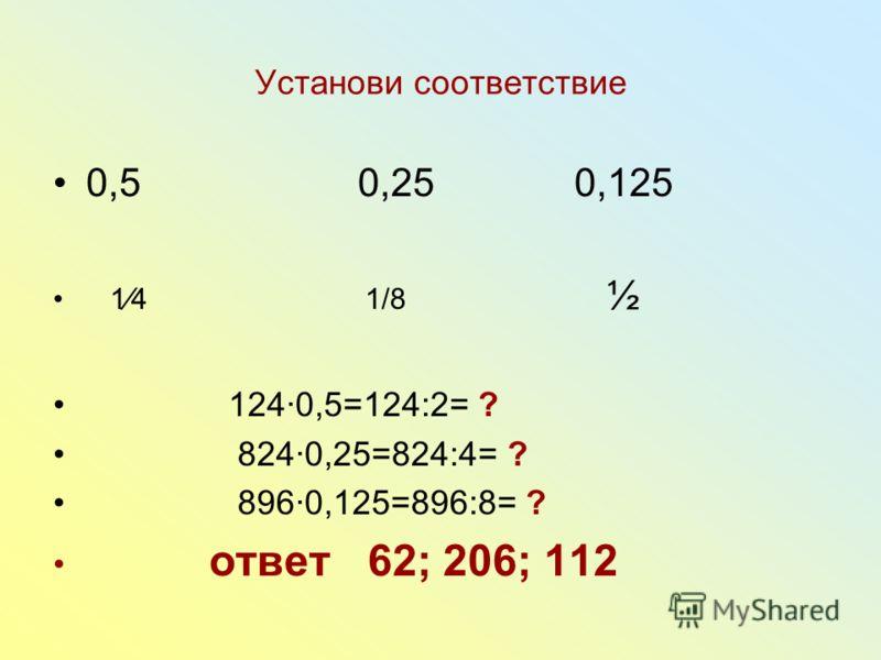 Установи соответствие 0,5 0,25 0,125 14 1/8 ½ 1240,5=124:2= ? 8240,25=824:4= ? 8960,125=896:8= ? ответ 62; 206; 112