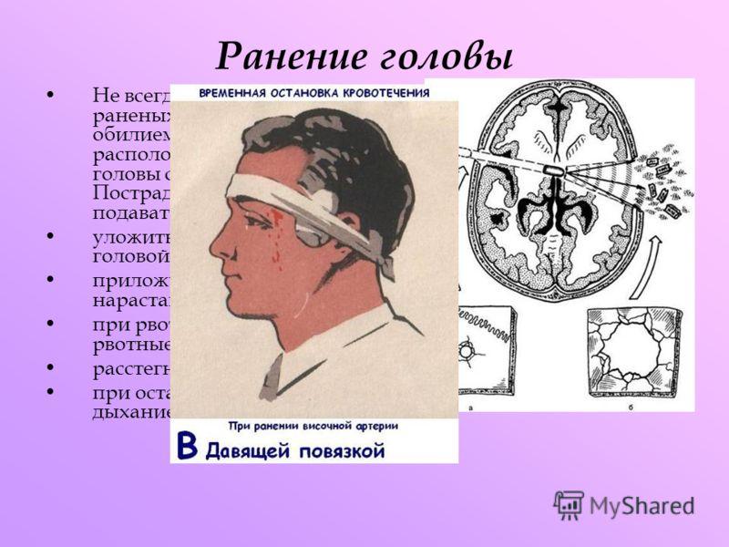 Ранение головы Не всегда вызывает мгновенную смерть. Приблизительно 15% раненых выживают. Ранения в лицо обычно сопровождаются обилием крови из-за большого количества сосудов расположенных в лицевой части черепа. При ранении головы следует подразумев