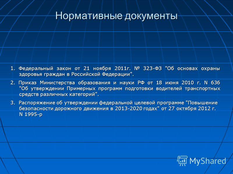 Нормативные документы 1. Федеральный закон от 21 ноября 2011г. 323-ФЗ