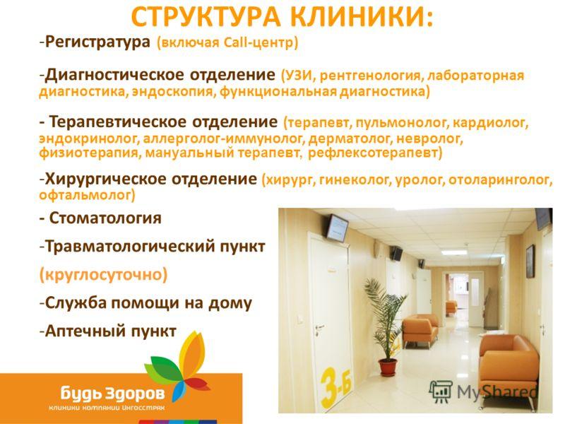 СТРУКТУРА КЛИНИКИ: -Регистратура (включая Call-центр) -Диагностическое отделение (УЗИ, рентгенология, лабораторная диагностика, эндоскопия, функциональная диагностика) - Терапевтическое отделение (терапевт, пульмонолог, кардиолог, эндокринолог, аллер