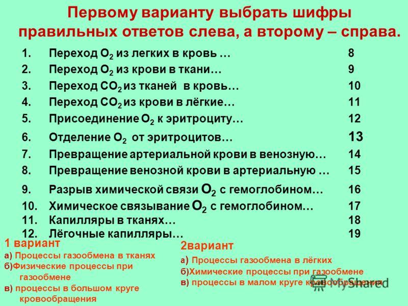 1.Переход О 2 из легких в кровь …8 2.Переход О 2 из крови в ткани…9 3.Переход СО 2 из тканей в кровь… 10 4.Переход СО 2 из крови в лёгкие…11 5.Присоединение О 2 к эритроциту…12 6.Отделение О 2 от эритроцитов… 13 7.Превращение артериальной крови в вен
