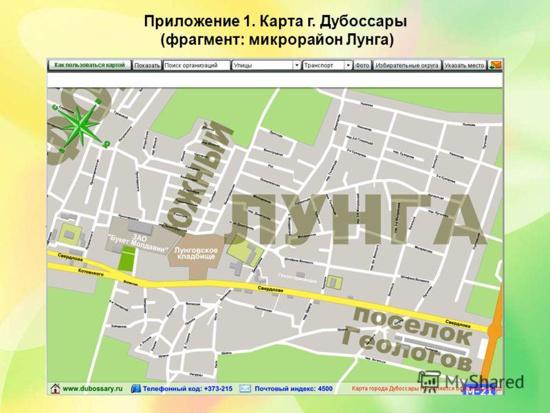 Приложение 1. Карта г. Дубоссары (фрагмент: микрорайон Лунга)