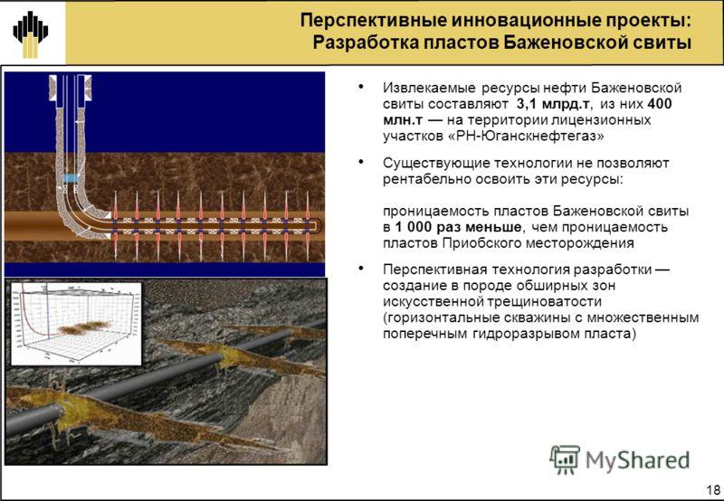 18 Перспективные инновационные проекты: Разработка пластов Баженовской свиты Извлекаемые ресурсы нефти Баженовской свиты составляют 3,1 млрд.т, из них 400 млн.т на территории лицензионных участков «РН-Юганскнефтегаз» Существующие технологии не позвол