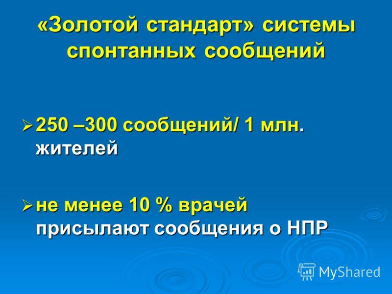 «Золотой стандарт» системы спонтанных сообщений 250 –300 сообщений/ 1 млн. жителей 250 –300 сообщений/ 1 млн. жителей не менее 10 % врачей присылают сообщения о НПР не менее 10 % врачей присылают сообщения о НПР