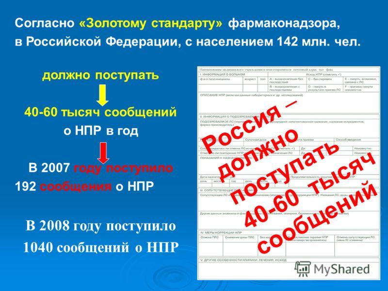 Согласно «Золотому стандарту» фармаконадзора, в Российской Федерации, с населением 142 млн. чел. Россия должно поступать 40-60 тысяч сообщений должно поступать 40-60 тысяч сообщений о НПР в год В 2007 году поступило 192 сообщения о НПР В 2008 году по