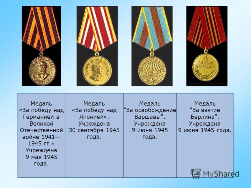 Медаль «В память 800- летия Москвы». Учреждена 20 сентября 1947 года. Медаль «В память 250- летия Ленинграда». Учреждена 16 мая 1957 года. Медаль «30 лет Советской Армии и Флота». Учреждена 22 февраля 1948 года. Медаль