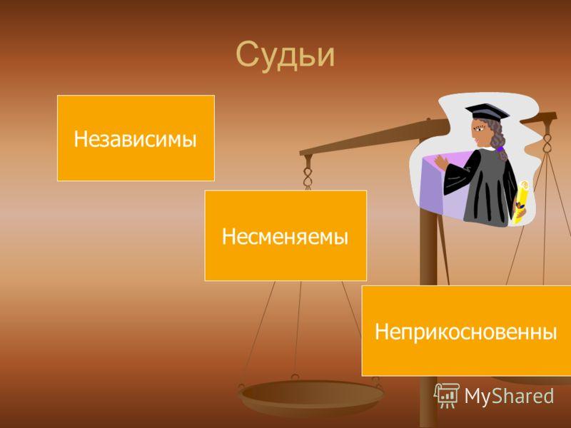 Судьи Независимы Несменяемы Неприкосновенны