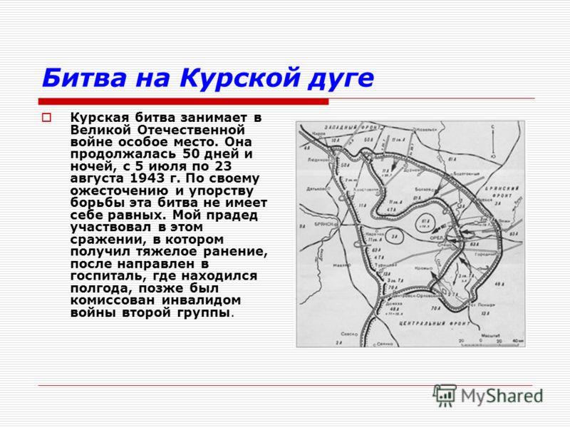 Битва на Курской дуге Курская битва занимает в Великой Отечественной войне особое место. Она продолжалась 50 дней и ночей, с 5 июля по 23 августа 1943 г. По своему ожесточению и упорству борьбы эта битва не имеет себе равных. Мой прадед участвовал в