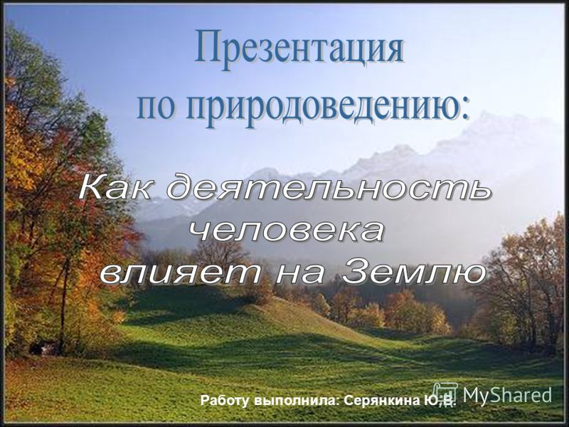 Работу выполнила: Серянкина Ю.В.