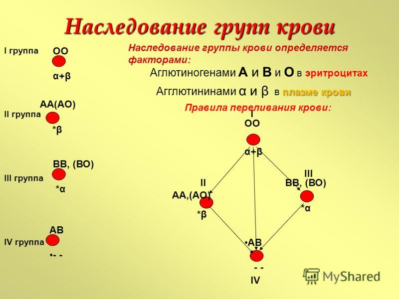 Наследование групп крови I группа II группа III группа IV группа ВВ, (ВО) АВ α+β ОО АА(АО) - *α*α *β *β Аглютиногенами А и В и О в эритроцитах плазме крови Агглютининами α и β в плазме крови ОО α+β АА,(АО) *β *β ВВ, (ВО) *α*α АВ - I II III IV Правила