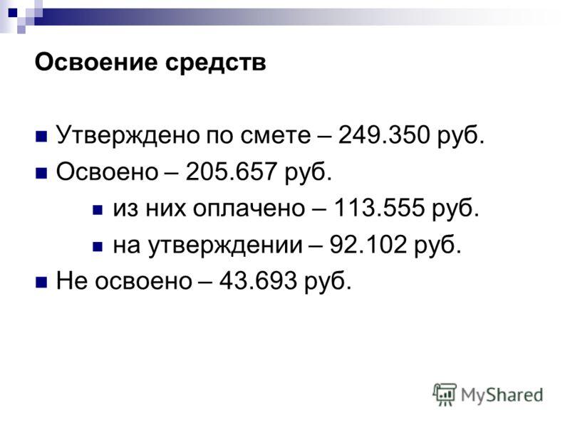 Освоение средств Утверждено по смете – 249.350 руб. Освоено – 205.657 руб. из них оплачено – 113.555 руб. на утверждении – 92.102 руб. Не освоено – 43.693 руб.