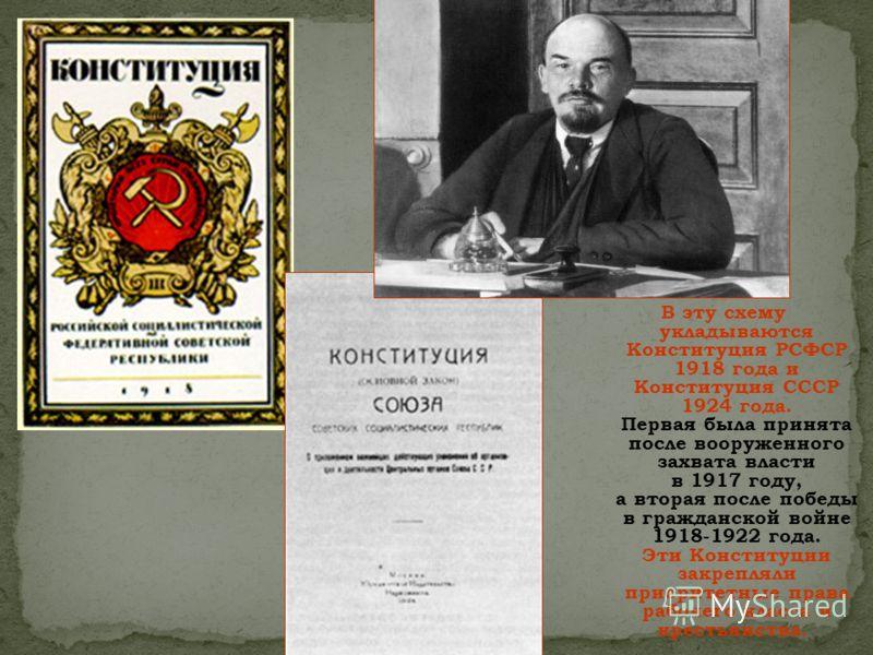 В эту схему укладываются Конституция РСФСР 1918 года и Конституция СССР 1924 года. Первая была принята после вооруженного захвата власти в 1917 году, а вторая после победы в гражданской войне 1918-1922 года. Эти Конституции закрепляли приоритетные пр