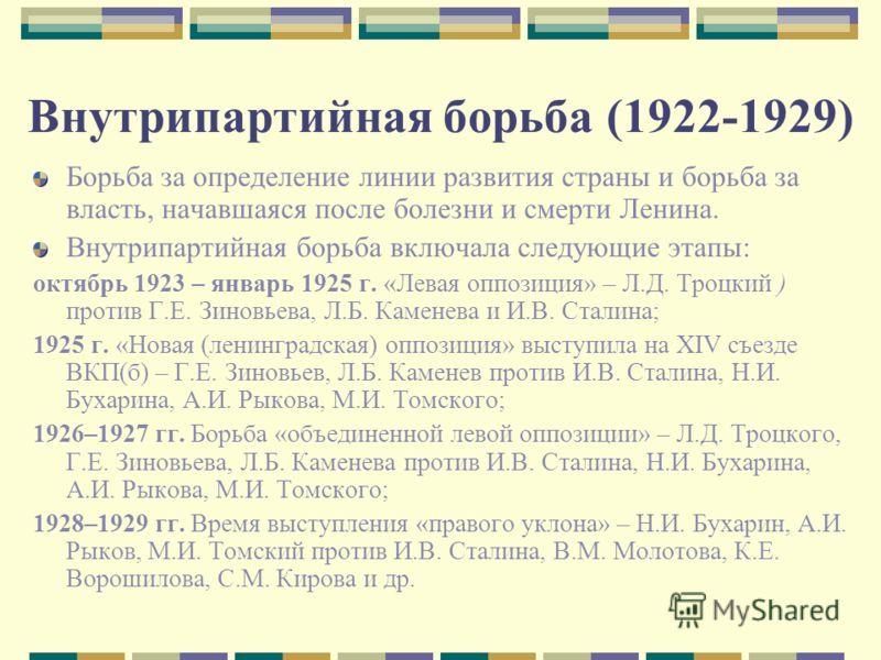 Внутрипартийная борьба (1922-1929) Борьба за определение линии развития страны и борьба за власть, начавшаяся после болезни и смерти Ленина. Внутрипартийная борьба включала следующие этапы: октябрь 1923 – январь 1925 г. «Левая оппозиция» – Л.Д. Троцк