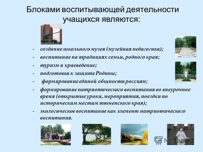 Блоками воспитывающей деятельности учащихся являются : -создание школьного музея ( музейная педагогика ); -воспитание на традициях семьи, родного края ; -туризм и краеведение ; -подготовка к защите Родины ; - формирование единой общности россиян ; -ф