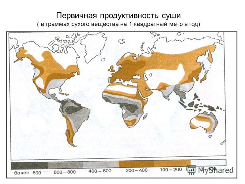 Первичная продуктивность суши ( в граммах сухого вещества на 1 квадратный метр в год)