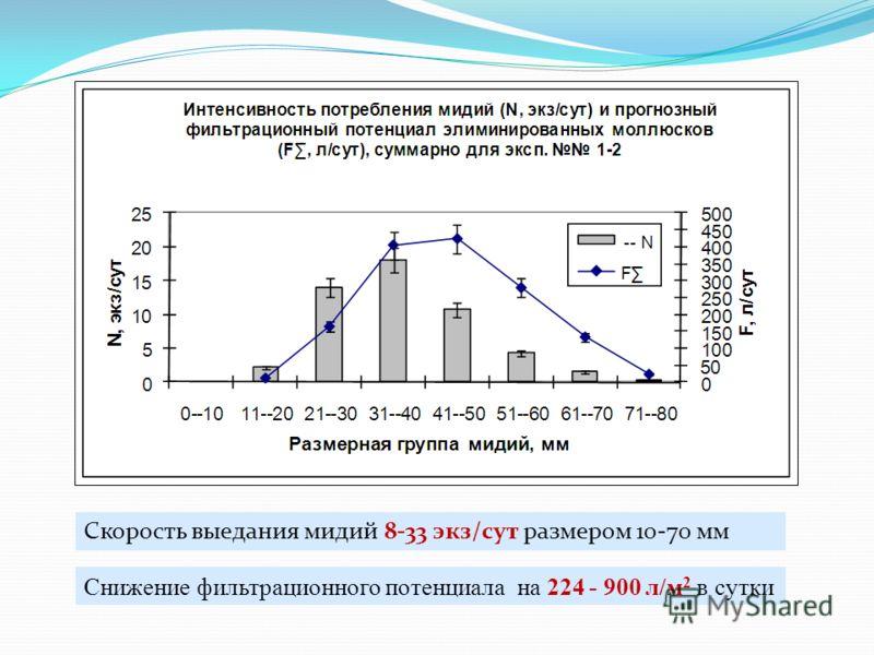 Скорость выедания мидий 8-33 экз/сут размером 10-70 мм Снижение фильтрационного потенциала на 224 - 900 л/м 2 в сутки