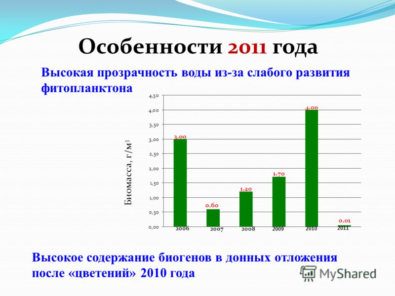 Особенности 2011 года Высокое содержание биогенов в донных отложения после «цветений» 2010 года Высокая прозрачность воды из-за слабого развития фитопланктона Биомасса, г/м 3