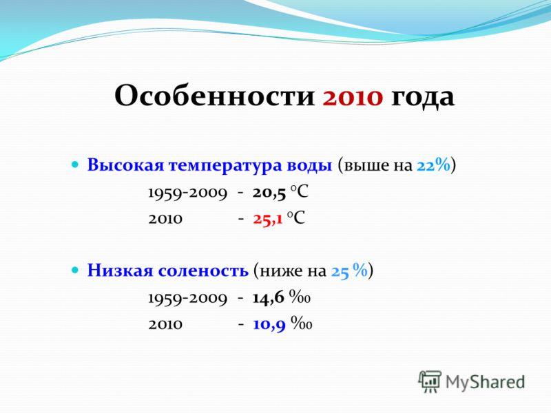 Высокая температура воды (выше на 22%) 1959-2009 - 20,5 0 С 2010 - 25,1 0 С Низкая соленость (ниже на 25 %) 1959-2009 - 14,6 2010 - 10,9 Особенности 2010 года