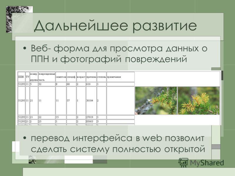 Дальнейшее развитие Веб- форма для просмотра данных о ППН и фотографий повреждений перевод интерфейса в web позволит сделать систему полностью открытой