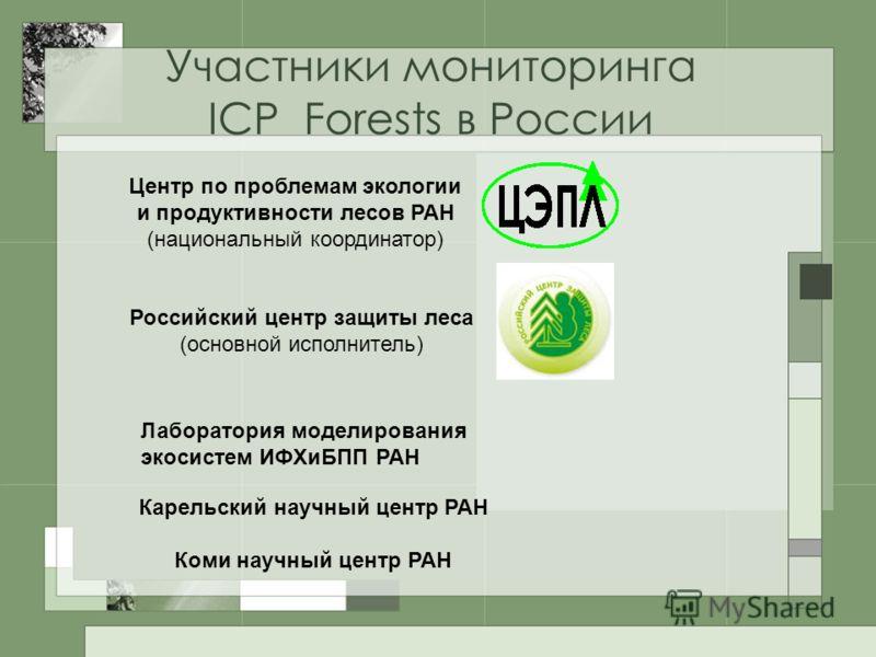 Участники мониторинга ICP Forests в России Центр по проблемам экологии и продуктивности лесов РАН (национальный координатор) Российский центр защиты леса (основной исполнитель) Лаборатория моделирования экосистем ИФХиБПП РАН Карельский научный центр