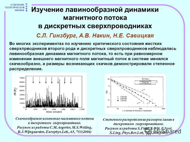 Степенное распределение размеров лавин в дискретном сверхпроводнике. Рисунок из работы S.Field, J.Witt, F.Nori, X.Ling, Phys.Rev.Lett, 74, 1206(1995) Скачкообразное изменение магнитного потока в дискретном сверхпроводнике. Рисунок из работы C.M.Aeger