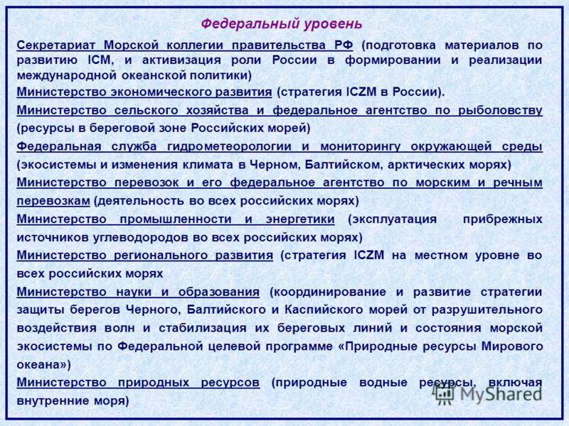 Секретариат Морской коллегии правительства РФ (подготовка материалов по развитию ICM, и активизация роли России в формировании и реализации международной океанской политики) Министерство экономического развития (стратегия ICZM в России). Министерство