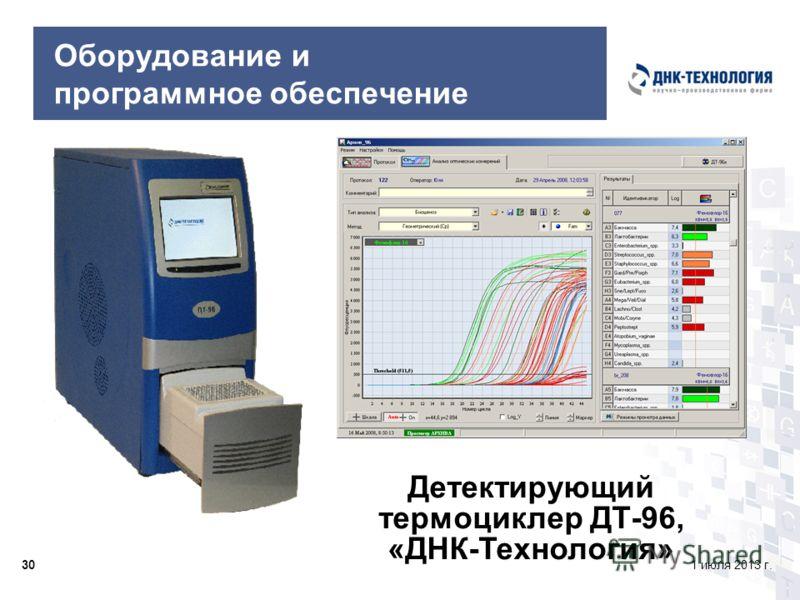 301 июля 2013 г. Оборудование и программное обеспечение Детектирующий термоциклер ДТ-96, «ДНК-Технология»